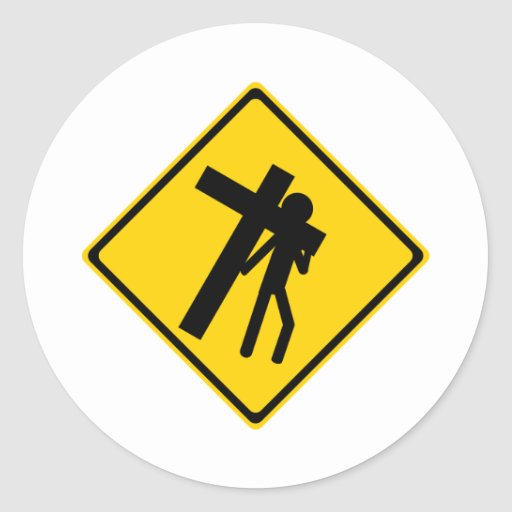 Road Sign Carrying Cross Round Stickers