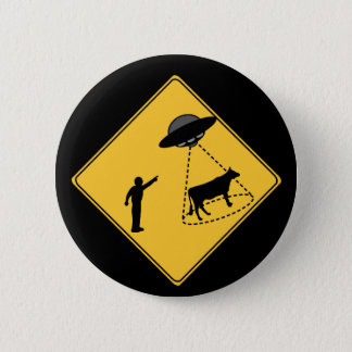 Road Sign- Cow and UFO 6 Cm Round Badge