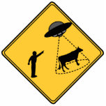 Road Sign- Cow and UFO Cut Out Sculpture