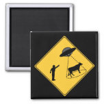 Road Sign- Cow and UFO Magnet
