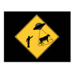 Road Sign- Cow and UFO Postcard
