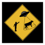 Road Sign- Cow and UFO Poster