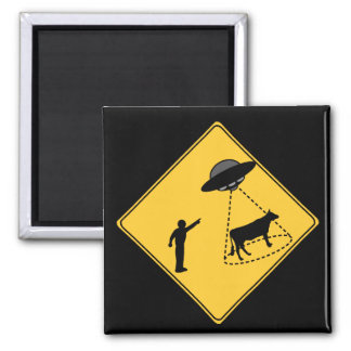 Road Sign- Cow and UFO Square Magnet
