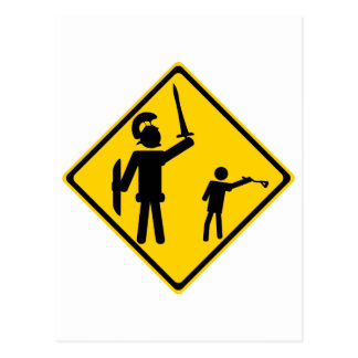 Road Sign David and Goliath Post Card