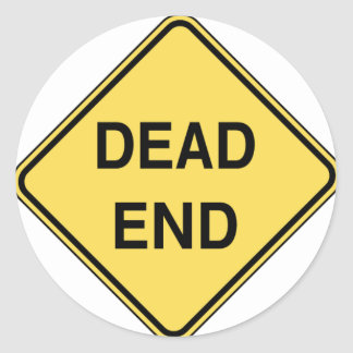 Road Sign - Dead End Classic Round Sticker