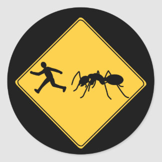 Road Sign- Giant Ant Classic Round Sticker