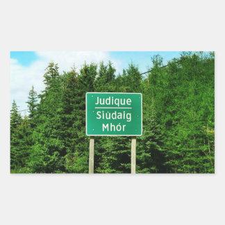 Road Sign, Judique, Cape Breton Rectangular Sticker