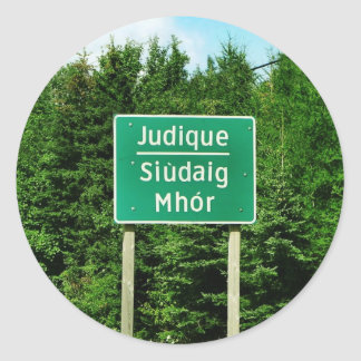 Road Sign, Judique, Cape Breton Round Sticker