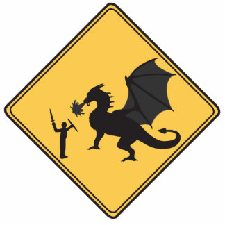 Road Sign- Knight & Dragon Cut Out Sculpture