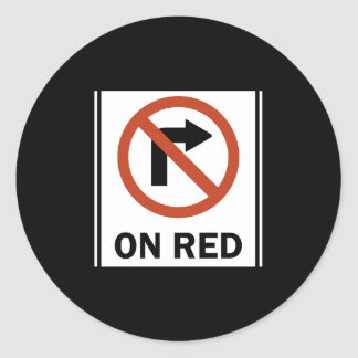 Road Sign - No Right Turn on Red Round Sticker