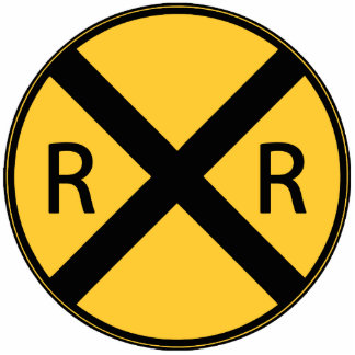 Road Sign Railroad Crossing Photo Sculpture Magnet
