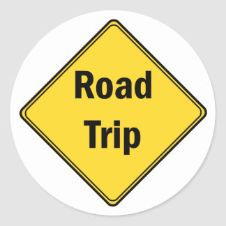 Road Sign- Road Trip Classic Round Sticker