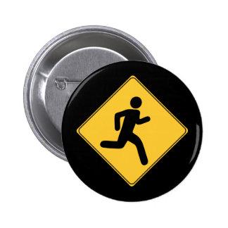 Road Sign - Runner 6 Cm Round Badge