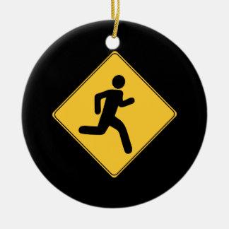 Road Sign - Runner Round Ceramic Decoration