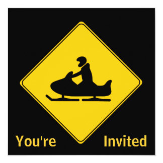 Road Sign- Snowmobile 13 Cm X 13 Cm Square Invitation Card