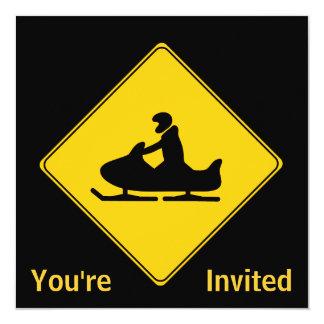 Road Sign- Snowmobile 13 Cm X 13 Cm Square Invitation Card