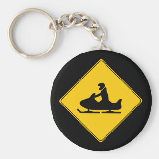 Road Sign- Snowmobile Basic Round Button Key Ring