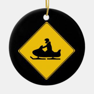 Road Sign- Snowmobile Round Ceramic Decoration