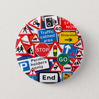 Road Signs 6 Cm Round Badge