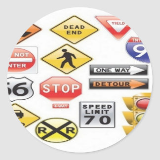 Road signs and traffic light design round sticker