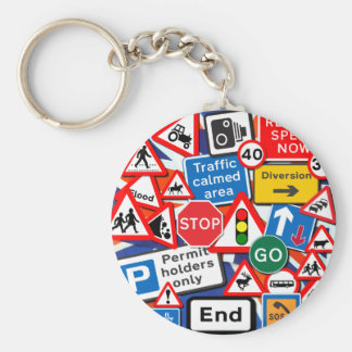 Road Signs Basic Round Button Key Ring