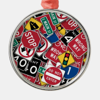 Road signs design christmas ornament