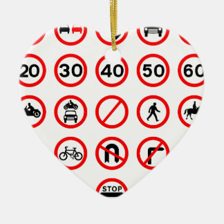 Road Signs - Red Round Christmas Ornament