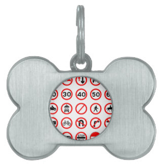 Road Signs - Red Round Pet Name Tags