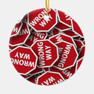 Road Signs WRONG WAY Christmas Ornament