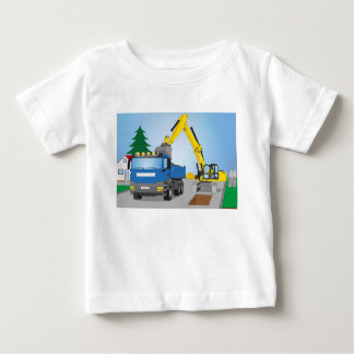Road site with blue truck and yellow excavator baby T-Shirt