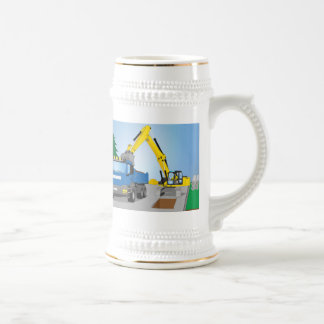 Road site with blue truck and yellow excavator beer stein