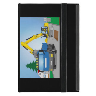 Road site with blue truck and yellow excavator case for iPad mini