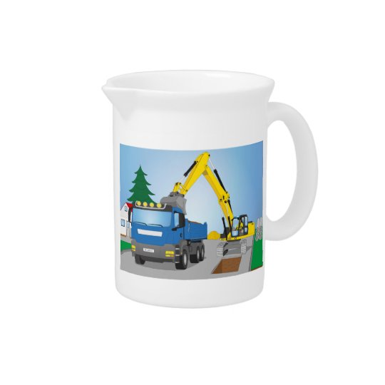 Road site with blue truck and yellow excavator drink pitcher