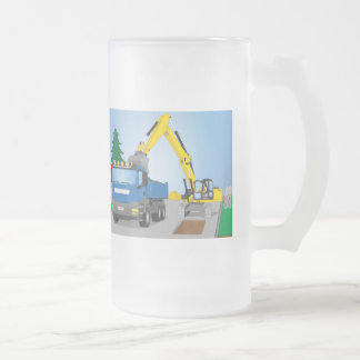 Road site with blue truck and yellow excavator frosted glass beer mug