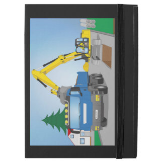 "Road site with blue truck and yellow excavator iPad pro 12.9"" case"