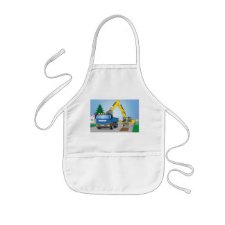 Road site with blue truck and yellow excavator kids apron