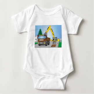Road site with brown truck and yellow excavator baby bodysuit