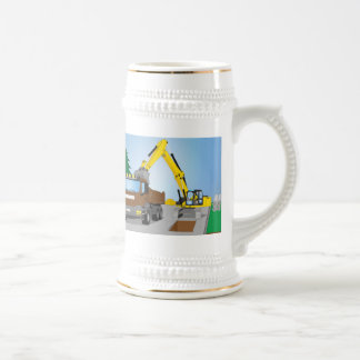 Road site with brown truck and yellow excavator beer stein