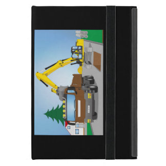 Road site with brown truck and yellow excavator covers for iPad mini