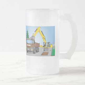 Road site with brown truck and yellow excavator frosted glass beer mug