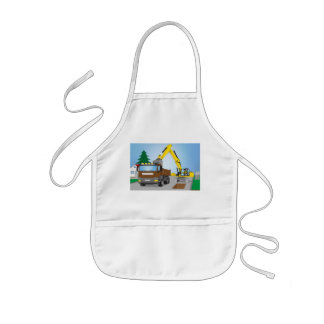 Road site with brown truck and yellow excavator kids apron