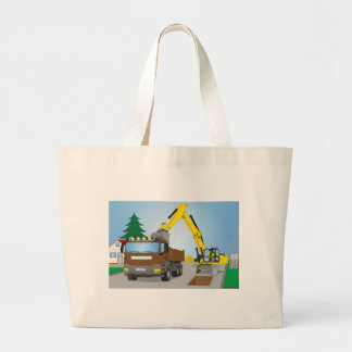 Road site with brown truck and yellow excavator large tote bag