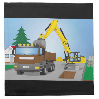 Road site with brown truck and yellow excavator napkin
