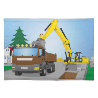 Road site with brown truck and yellow excavator placemat