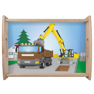 Road site with brown truck and yellow excavator serving tray