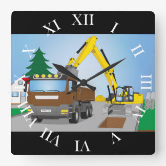 Road site with brown truck and yellow excavator square wall clock