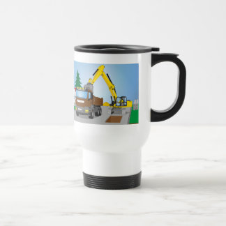 Road site with brown truck and yellow excavator travel mug