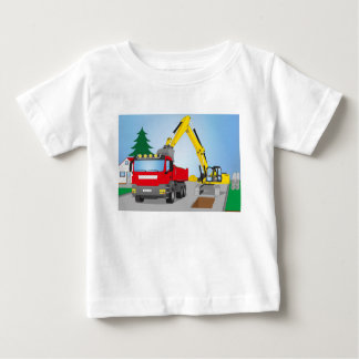 Road site with red truck and yellow excavator baby T-Shirt