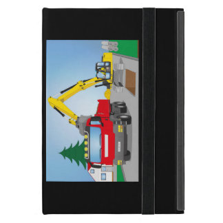 Road site with red truck and yellow excavator iPad mini cover