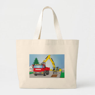 Road site with red truck and yellow excavator large tote bag